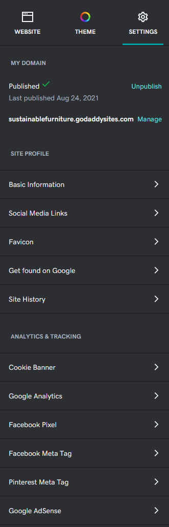 GoDaddy Online Store settings page
